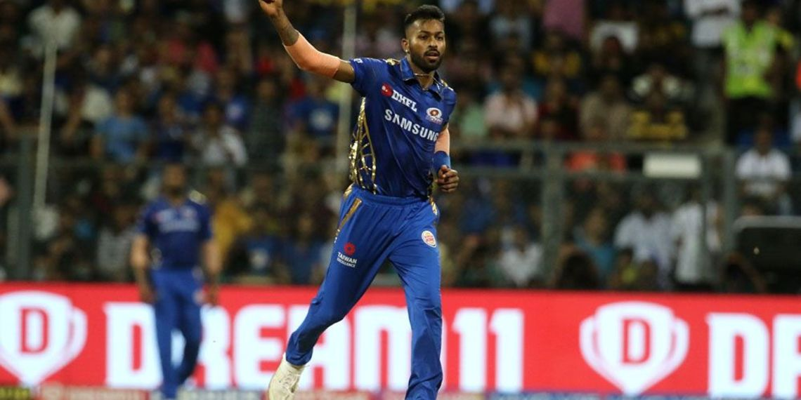 Hardik Pandya celebrates after dismissing a CSK batsman in Mumbai, Wednesday