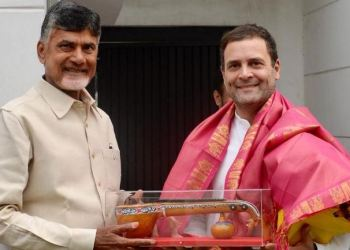 Before meeting the Congress chief, Naidu, who is spearheading an effort to cobble up an anti-BJP front, met CPI leaders Sudhakar Reddy and D Raja.