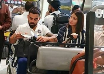 The Indian squad left for the US July 29 and a picture of skipper Kohli with actress wife Anushka Sharma at Miami airport has gone viral on social media.