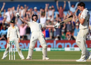 England's Ben Stokes celebrates after helping his side win the third Test at Headingley