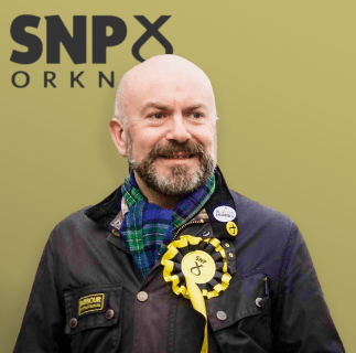 Robert Leslie with SNP Orkney logo behind
