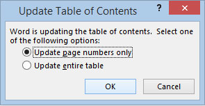 Figure 5: Table of Contents update menu.