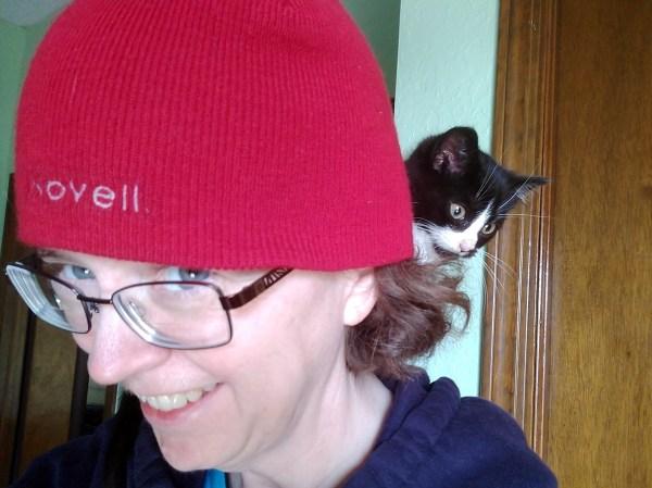 KPotD001 Kitten sitting on Heather's Shoulder