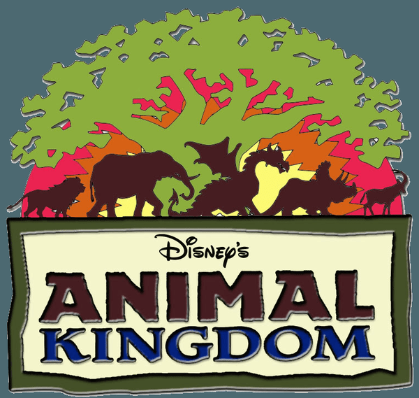The words 'Disney's Animal Kingdom' below a green Tree of Life with a lion, elephant, dragon, dinosaur, and antelope.