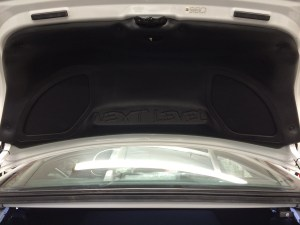 Custom built trunk lid with a Mmats 3 way component set trimmed out in vinyl.