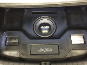 Custom Built trunk with three Mmats amplifiers and a Mmats Monster 12.