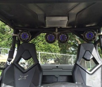Rigid Lights and Kicker Marine audio on a Can am Commander