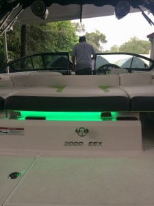 2016 Regal 2000 ESX Bowrider with custom LED lighting and audio system.