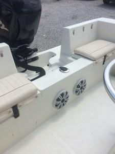 """two 8"""" coaxial kicker marine speakers installed near transom"""