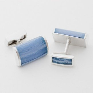 Blue lace agate rectangle hallmarked sterling silver cufflinks
