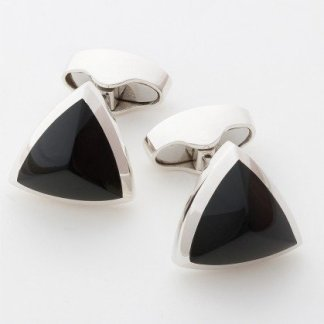 Onyx peaked triangle sterling silver cufflinks