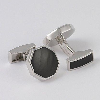 Orlap Studio octagon onyx hallmarked sterling silver cufflinks