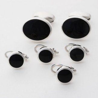 Sterling silver black onyx oval cufflinks and round dress studs for black tie shirts