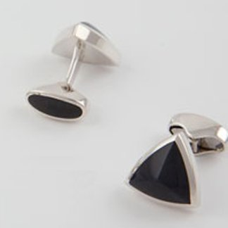Blue Tigers Eye hallmarked sterling silver triangle cufflinks