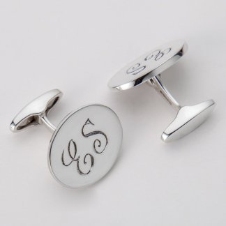 Engraved initials oval silver Orlap cufflinks