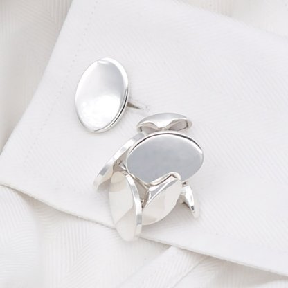 Orlap BS137 Oval Plain Sterling Silver Cufflinks to engrave