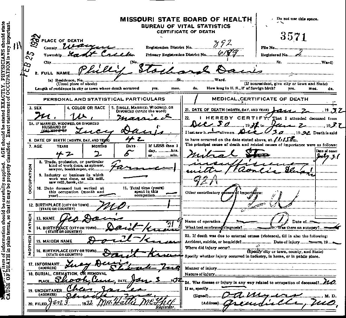 Historical documents orley and eva davis atnip phillip stockard davis death certificate page 1 1betcityfo Image collections