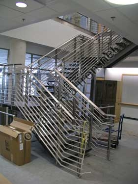 Custom Wrought Hand Forged Rails In Iron Brass Aluminum And   Stainless Steel Banister Rail   Ags Stainless   Satin Stainless   Metal Fabrication   Railing Designs   Cable Railing Kits