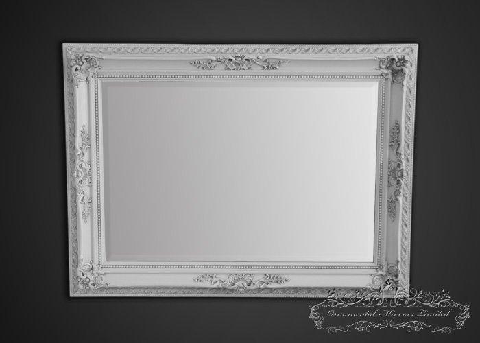 White Framed Mirror For Bathroom