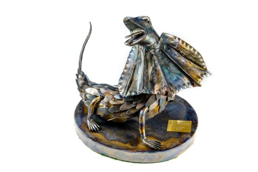 """""""E LIZ-ard"""" Mild steel, lizard sculpture."""