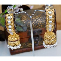 Royal Ethnic Gold Jhumka Earrings