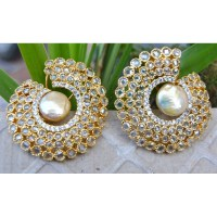 Bold Uncut Diamond Pearl Earrings