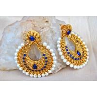 Royal Blue Stone Gold Chand Bali Earrings