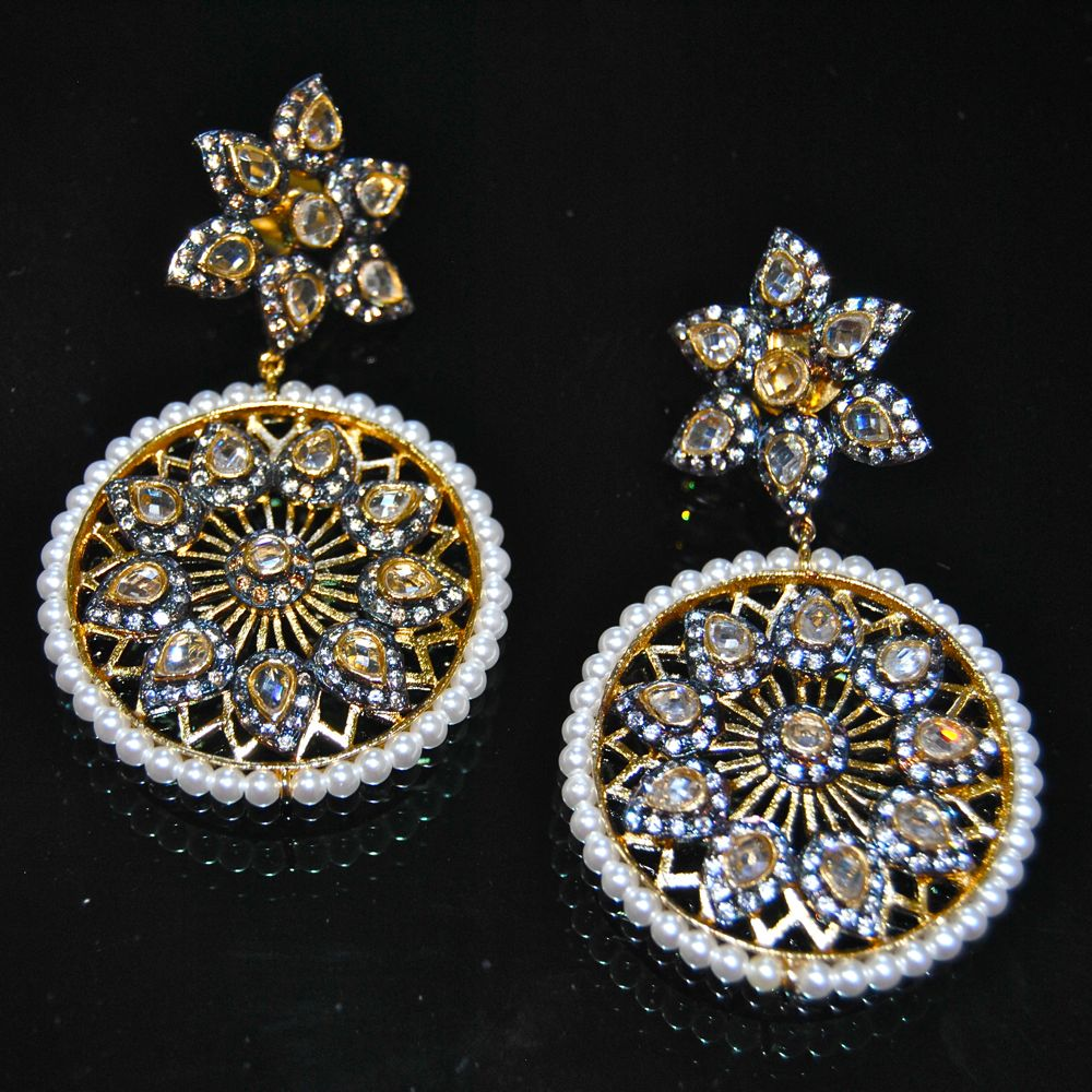 Pearl Uncut Diamond Earrings