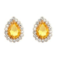 Waterdrop Yellow Topaz Diamond Rimmed Stud Earrings