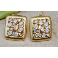 UNCUT DIAMOND GOLD STUD EARRINGS