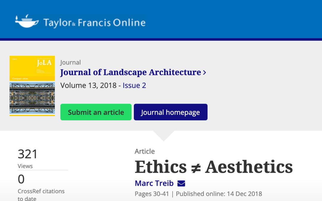 Ethics =/= Aesthetics, Taylor & Francis Online
