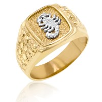 Men's 10kt Solid Yellow gold Ring Accented with White Gold ...