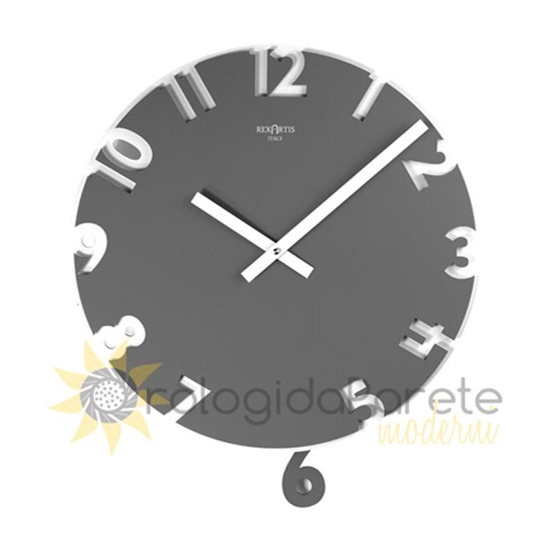 Orologio da parete moderno karlsson cassa nera quadrante grigio cm 37. Wall Clock With Pendulum Modern Wood And Lacquered Orologidaparetemoderni