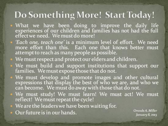 Postings - January 8 2013 - We Must Do More