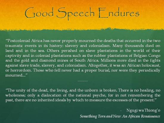 Ngugi wa Thiongo - Good Speech Endures