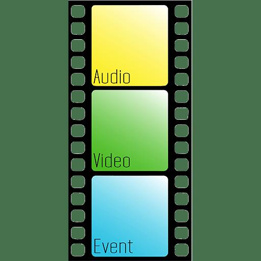 """Gedrittelter Filmstreifen. Oben gelbes Kästchen in dem der Text """"Audio"""" steht, darunter ein grünes in dem """"Video"""" steht und unten ein blaues Viereck in dem """"Event"""" steht."""