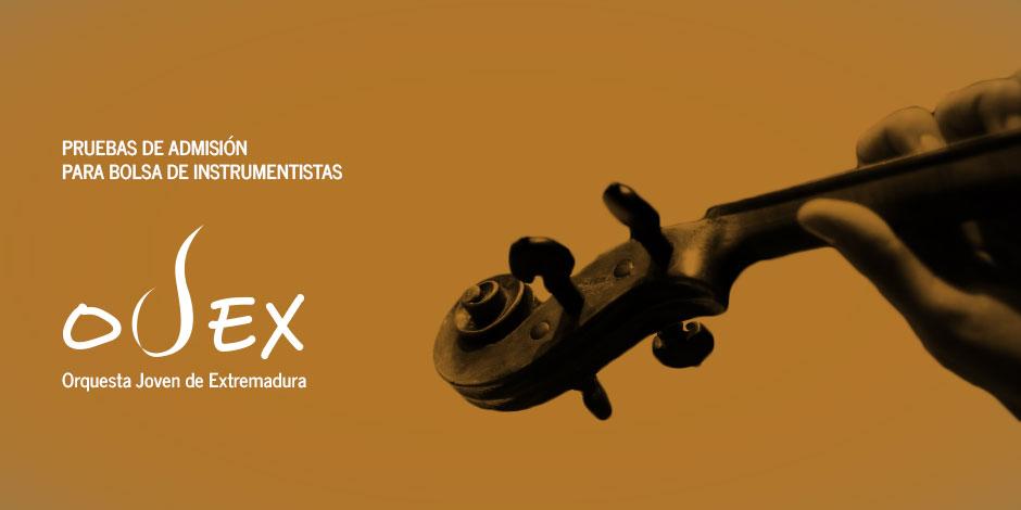 Convocatoria extraordinaria de pruebas de admisión para bolsa de instrumentistas de la OJEX