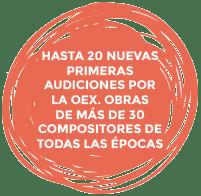 Hasta 20 nuevas primeras audiciones por la OEX. obras de más de 30 compositores de todas las épocas