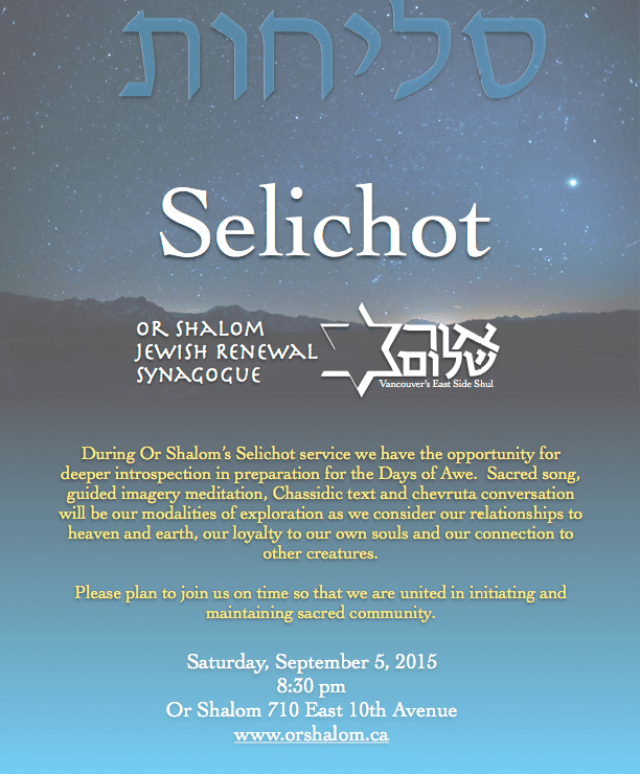 Join Or Shalom for Selichot | Or Shalom Synagogue – אור שלום