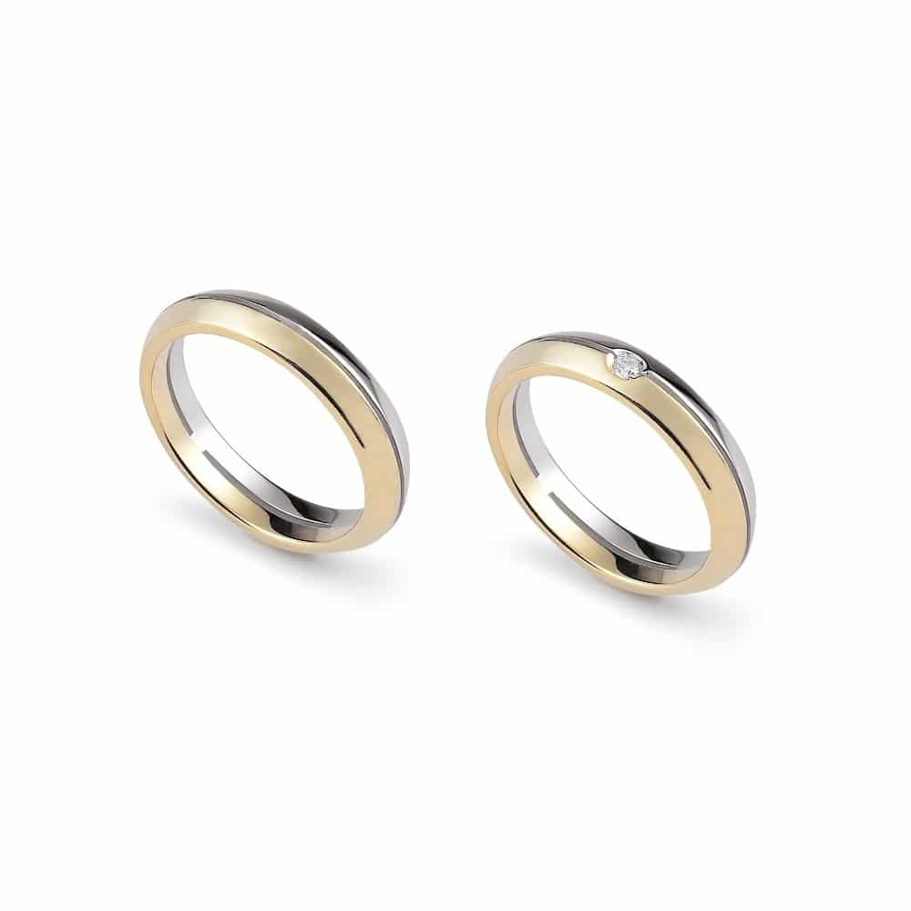 Trendy bicolor gold wedding ring with or without diamond