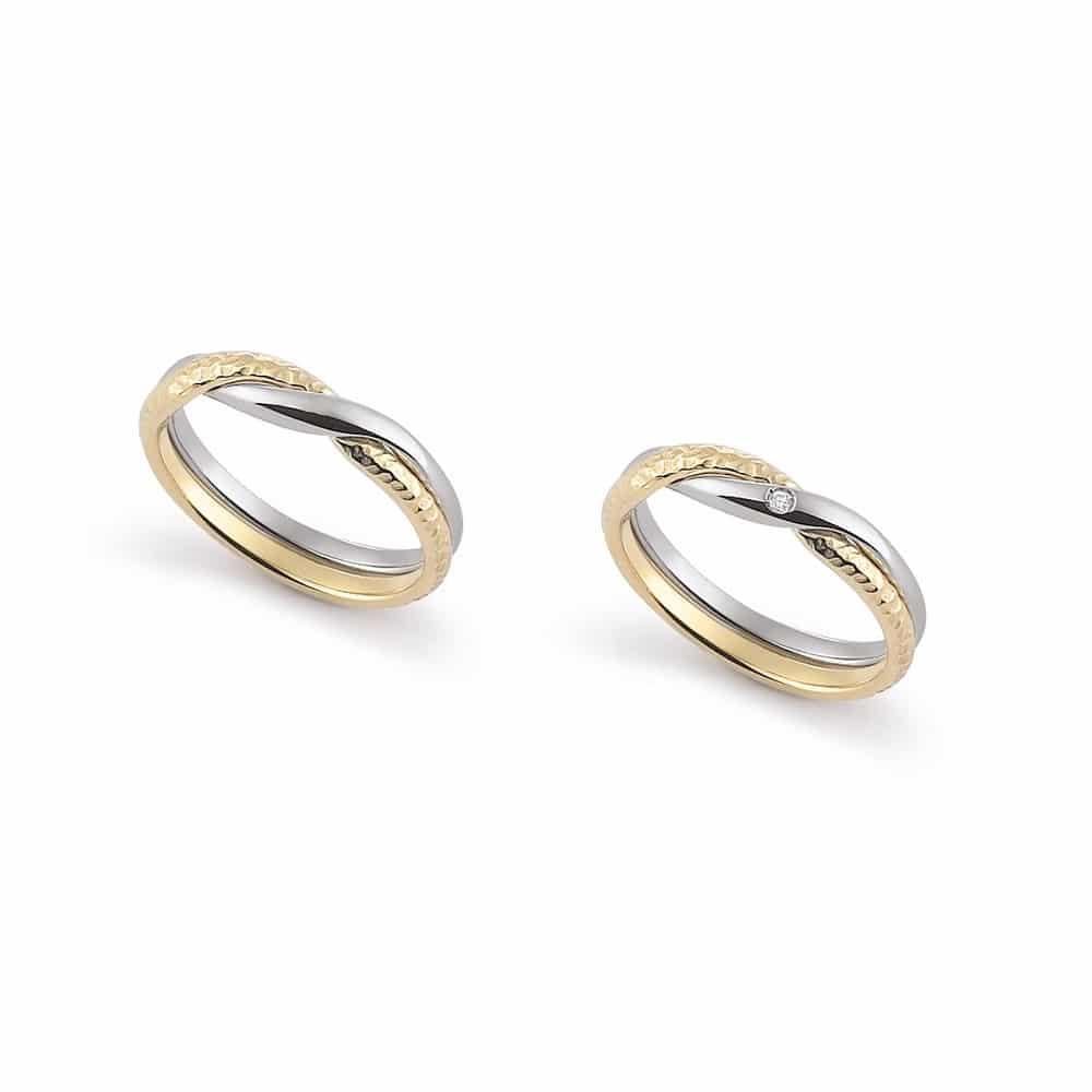 Trendy half hammered interweaving bicolor gold wedding