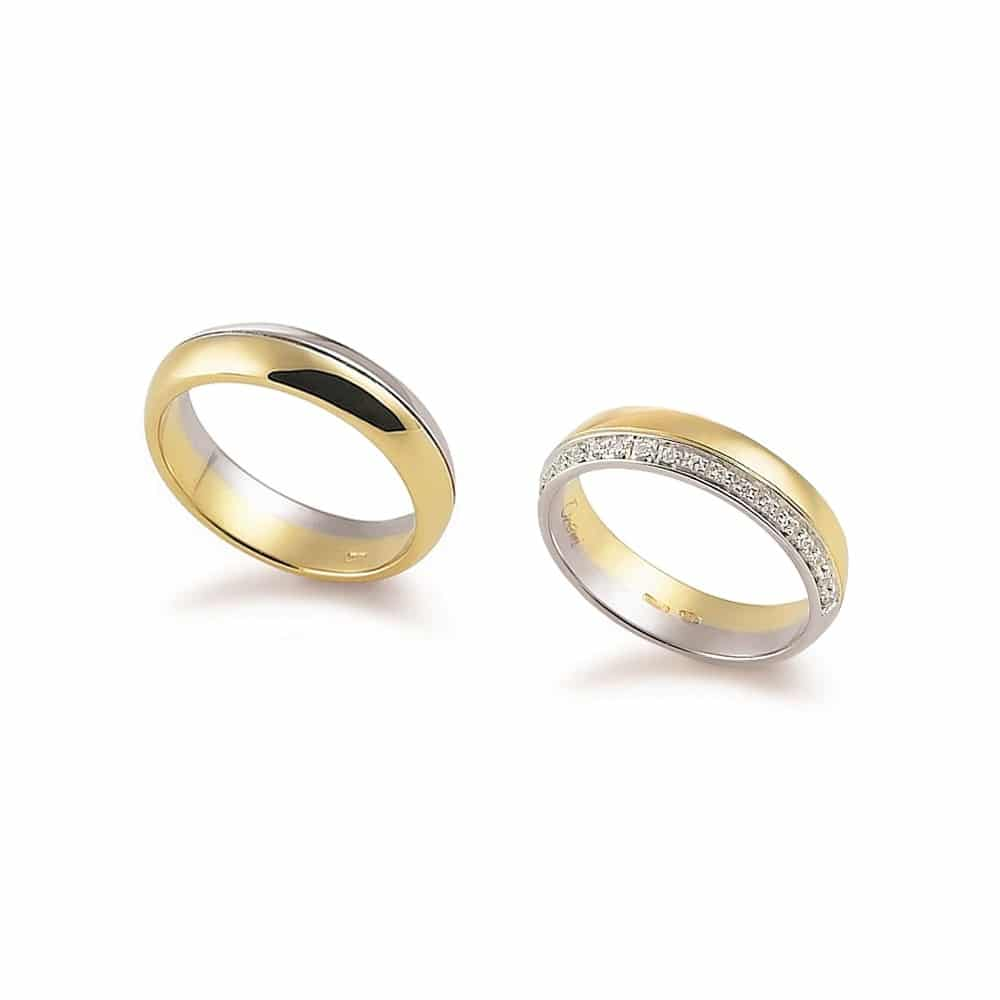 Modern bicolor half eternity gold wedding ring with or