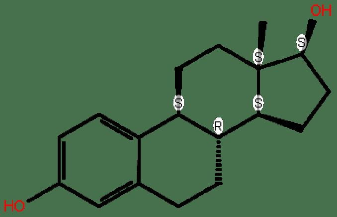 Ostrojen hormonlarından östradiolün yapısı. Tamoksifenin yarıştığı molekül.