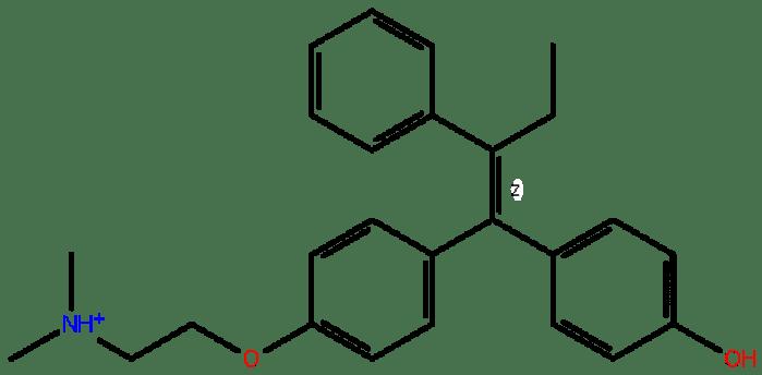 Tamoksifen molekülünün yapısı.