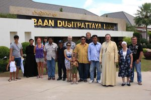 archimandrite Oleg (Cherepanin), management and representatives of «DusitPattaya Co. Ltd.» company, and parishioners of All-saints church in Pattaya at the meeting in «Baan DusitPattaya» village