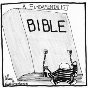 fundamentalist chained to the Bible