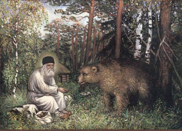 st seraphim of sarov with a bear from nativityofchristnet