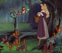 Aurora, Sleeping Beauty, Disney princess, type of the Theotokos Mary, Animal friends in forest