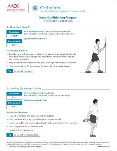 knee rehabilitation exercises orthoinfo