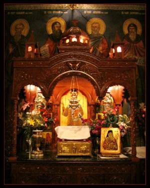 Baldachin with holy relics of Saint Nektarios, Radu Voda Monastery, Bucharest